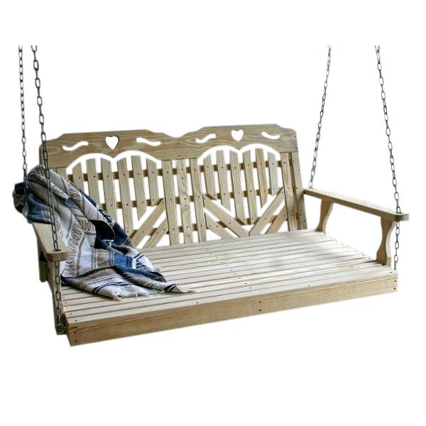 "60"" Treated Pine Heartback w/Hearts Swingbed"