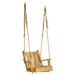 A & L Furniture 2ft Timberland Chair Swing with Rope Porch Swings Natural