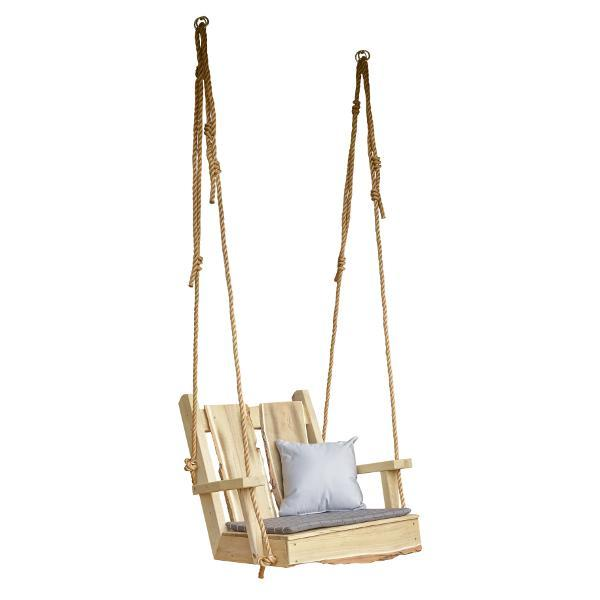 A & L Furniture 2ft Timberland Chair Swing with Rope Porch Swings Unfinished