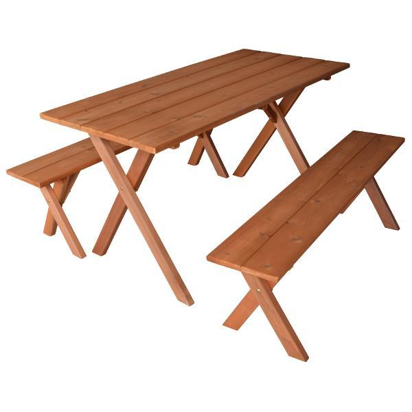 A & L Furniture 5ft Cedar Economy Table with 2 Benches Table Cedar