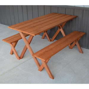 A & L Furniture 5ft Cedar Economy Table with 2 Benches Table Unfinished