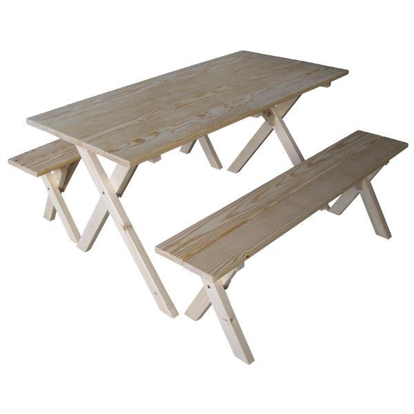 A & L Furniture 5ft Economy Table with 2 Benches Table Unfinished