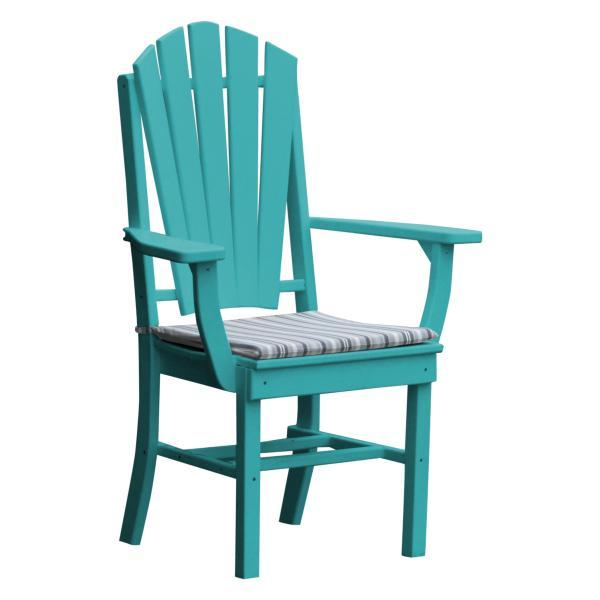 A & L Furniture Adirondack Dining Chair w/Arms Outdoor Chairs Aruba Blue