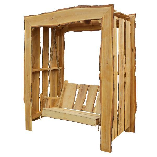 A & L Furniture Appalachian Arbor with Timberland Swing with Rope Porch Swing Stands 5ft / Unfinished