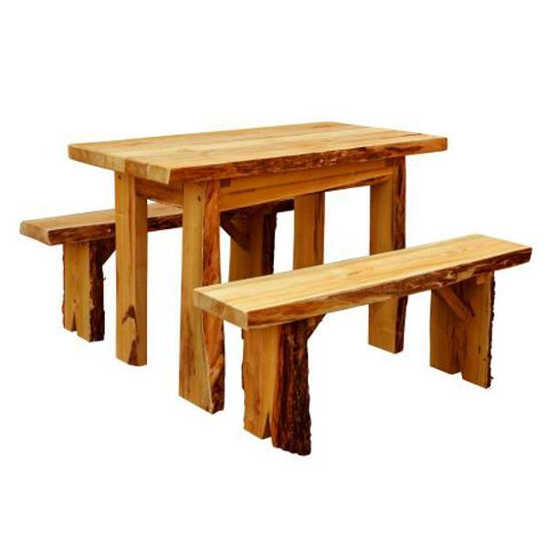 A & L Furniture Autumnwood Table with 2 Wildwood Benches Table 4ft / Cedar