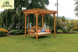 A & L Furniture Cedar Pergola Swing Bed Stand Pergolas 6' x 8' / Unfinished