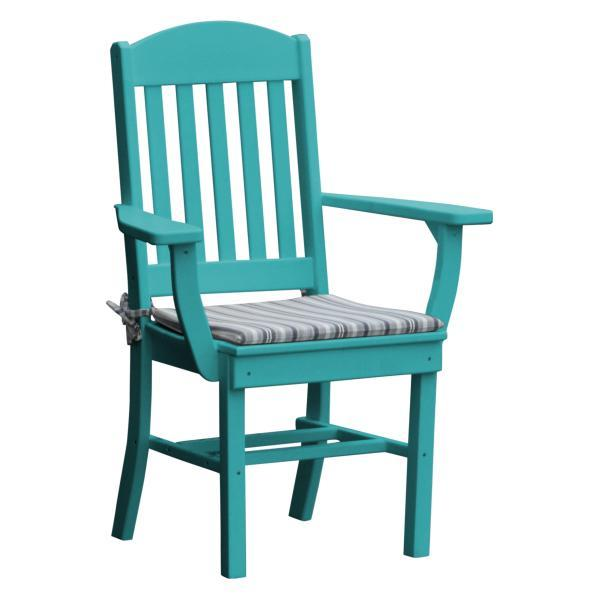 A & L Furniture Classic Dining Chair w/ Arms Outdoor Chairs Aruba Blue