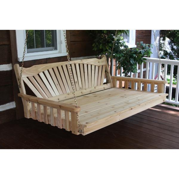 A & L Furniture Fanback Red Cedar Swing Bed Swing Beds 4ft / Unfinished / No