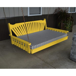 A & L Furniture Fanback Yellow Pine 6ft Swing Bed Swing Beds 6ft / Unfinished / No