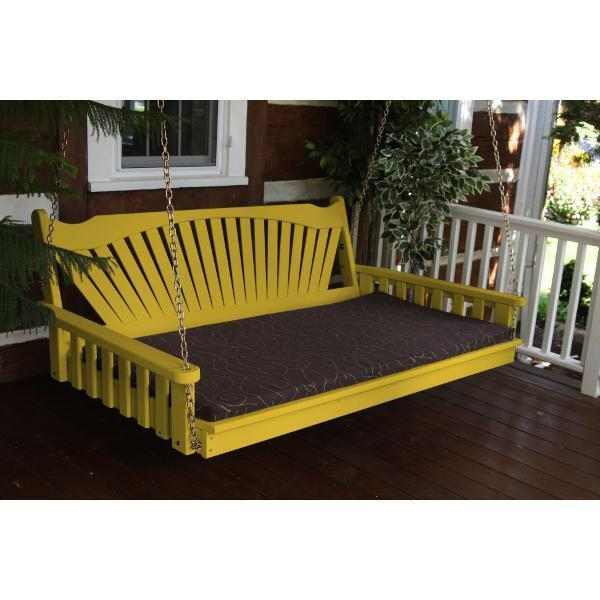 A & L Furniture Fanback Yellow Pine Swing Bed Swing Beds 4ft / Unfinished / No