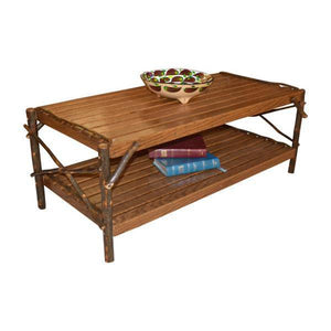 A & L Furniture Hickory Coffee Table with Shelf Table Rustic Hickory