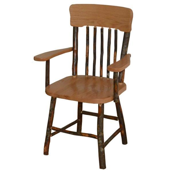 A & L Furniture Hickory Panel Back Dining Chair With Arms Outdoor Chairs Natural