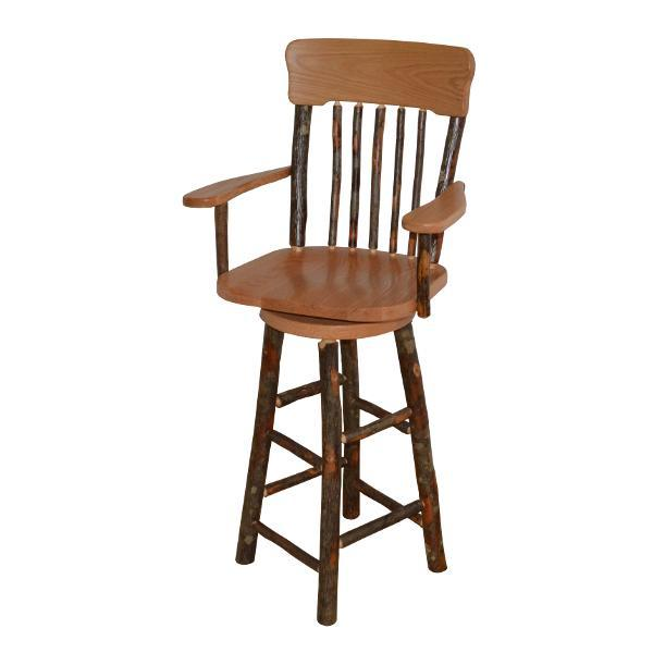 A & L Furniture Hickory Panel Back Swivel Barchair Outdoor Chairs Natural