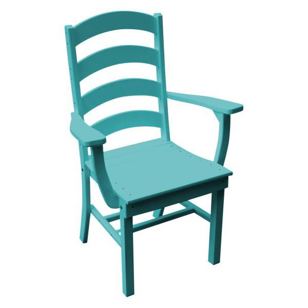A & L Furniture Ladderback Dining Chair w/ Arms Outdoor Chairs Aruba Blue