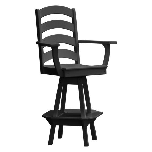 A & L Furniture Ladderback Swivel Bar Chair w/ Arms Outdoor Chairs Black