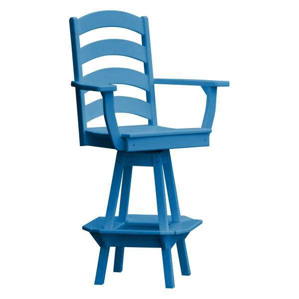 A & L Furniture Ladderback Swivel Bar Chair w/ Arms Outdoor Chairs Blue