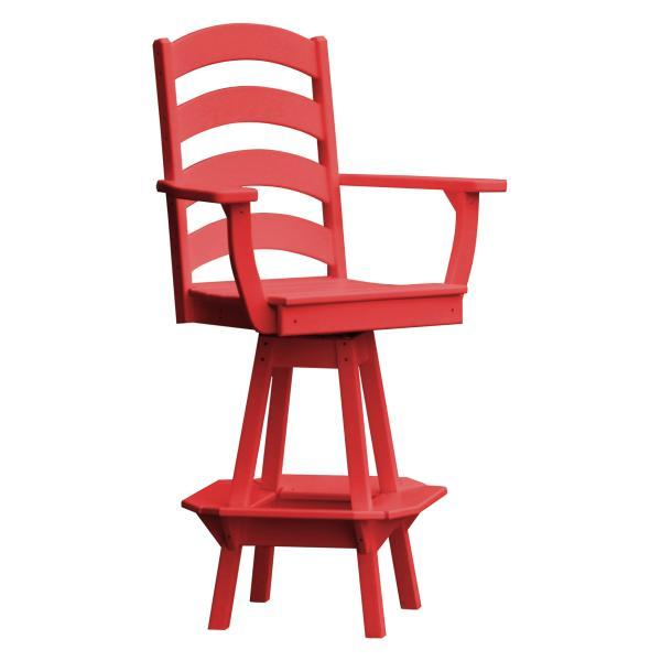 A & L Furniture Ladderback Swivel Bar Chair w/ Arms Outdoor Chairs Bright Red