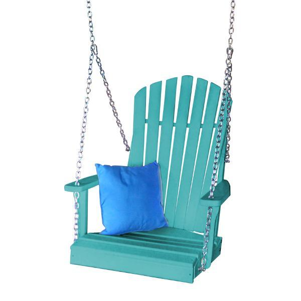 A & L Furniture Poly Adirondack Chair Swing Porch Swing Aruba Blue