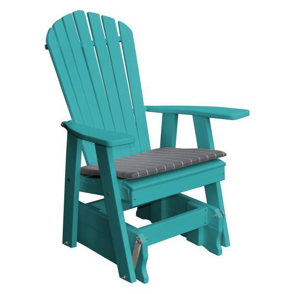 A & L Furniture Poly Adirondack Gliding Chair Glider Aruba Blue
