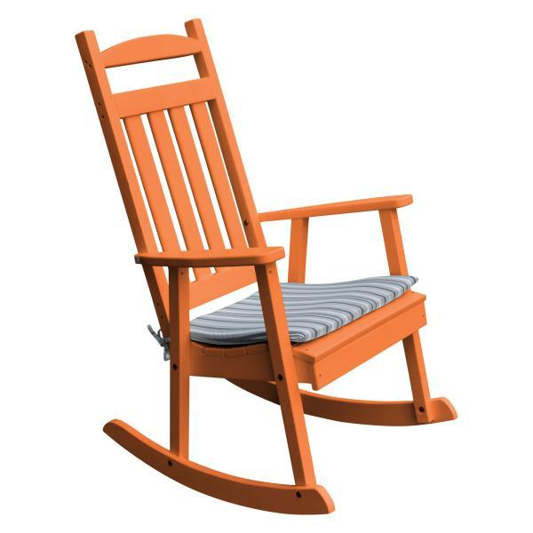 A & L Furniture Poly Classic Porch Rocker Rocker Chair Orange
