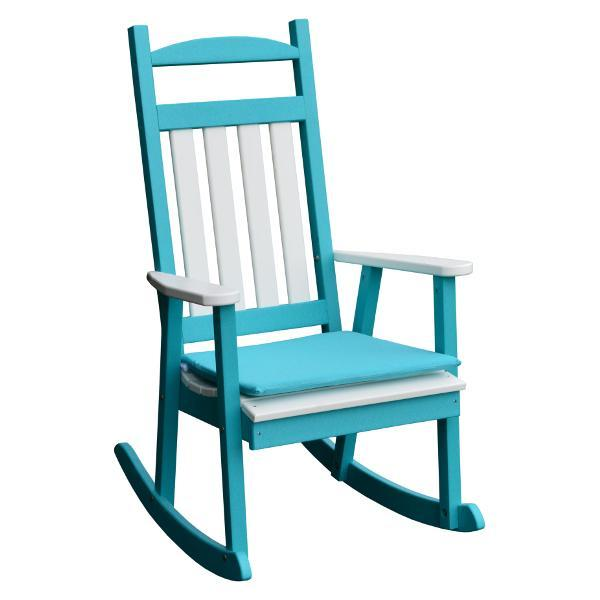 A & L Furniture Poly Classic Porch Rocker w White Accents Rocker Chair Aruba Blue