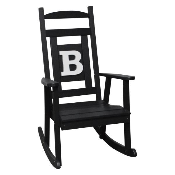 A & L Furniture Poly Classic Rocker with Monogram Rocker Chair A / Black