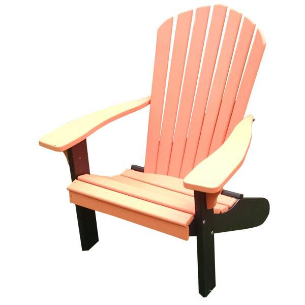 A & L Furniture Poly Fanback Adirondack Chair with Black Frame Outdoor Chairs Aruba Blue