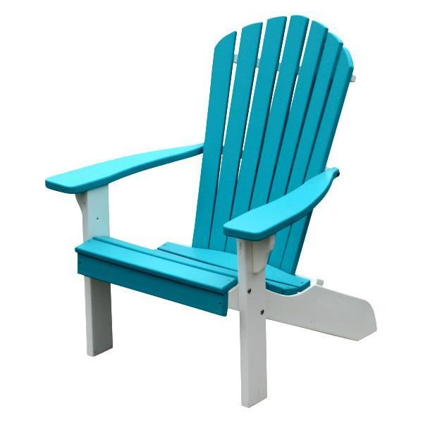 A & L Furniture Poly Fanback Adirondack Chair with White Frame Outdoor Chairs Aruba Blue