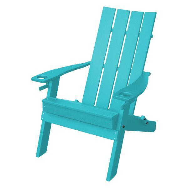 A & L Furniture Poly Hampton Folding Adirondack Chair w/2 Cupholders Adirondack Aruba Blue