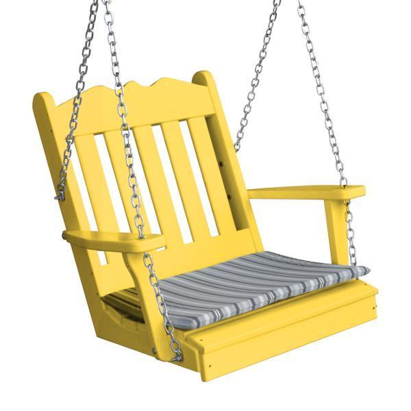 A & L Furniture Poly Royal English Chair Swing Porch Swing Lemon Yellow