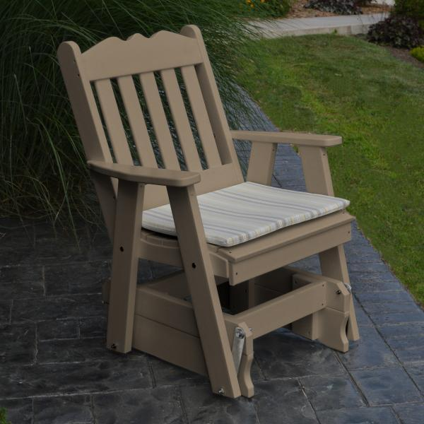 A & L Furniture Poly Royal English Gliding Chair Glider Weathered Wood