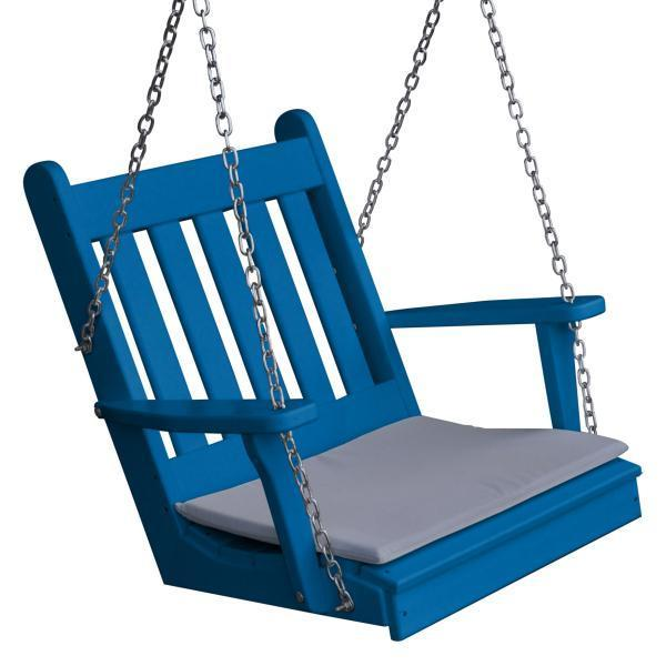 A & L Furniture Poly Traditional English Chair Swing Porch Swing Blue