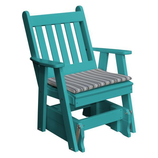 A & L Furniture Poly Traditional English Gliding Chair Outdoor Chairs Aruba Blue