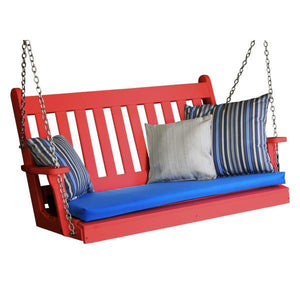 A & L Furniture Poly Traditional English Porch Swing Porch Swings 4ft / Aruba Blue