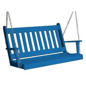 A & L Furniture Poly Traditional English Porch Swing Porch Swings 4ft / Blue