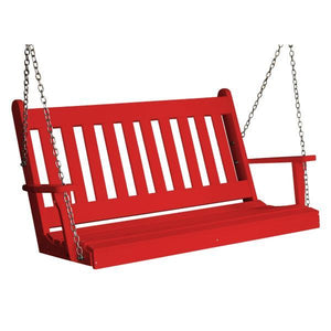 A & L Furniture Poly Traditional English Porch Swing Porch Swings 4ft / Bright Red