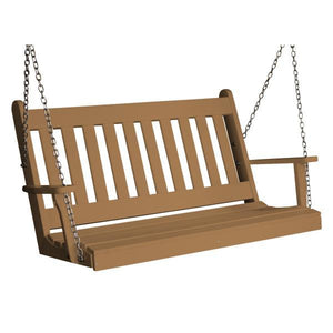 A & L Furniture Poly Traditional English Porch Swing Porch Swings 4ft / Cedar