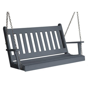 A & L Furniture Poly Traditional English Porch Swing Porch Swings 4ft / Dark Gray