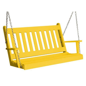 A & L Furniture Poly Traditional English Porch Swing Porch Swings 4ft / Lemon Yellow