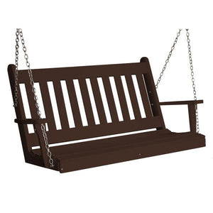 A & L Furniture Poly Traditional English Porch Swing Porch Swings 4ft / Tudor Brown