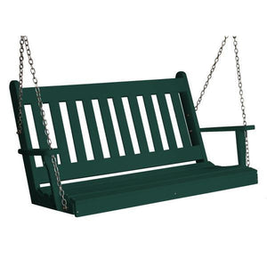 A & L Furniture Poly Traditional English Porch Swing Porch Swings 4ft / Turf Green