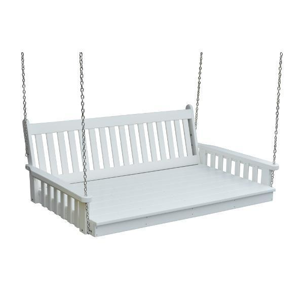 A & L Furniture Poly Traditional English Swingbed Porch Swing Beds 4ft / Aruba Blue