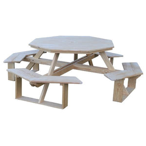 "A & L Furniture Pressure Treated Pine 54"" Octagon Walk-In Table Picnic Table Unfinished / No"