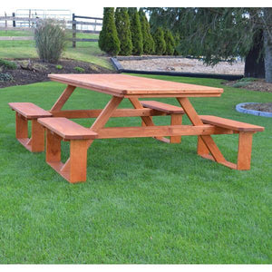 A & L Furniture Pressure Treated Pine 8ft Walk-In Table Picnic Table Unfinished / No