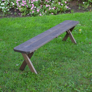 A & L Furniture Pressure Treated Pine Crossleg Bench Picnic Benches 2ft / Walnut