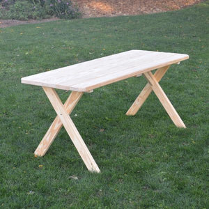 A & L Furniture Pressure Treated Pine Crossleg Table Outdoor Tables 4ft / Unfinished / No