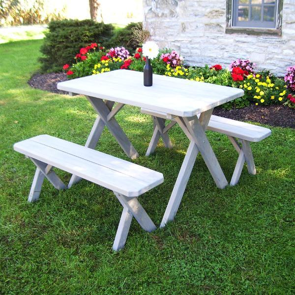 A & L Furniture Pressure Treated Pine Crossleg Table with 2 Benches Picnic Benches 4ft / Gray / No