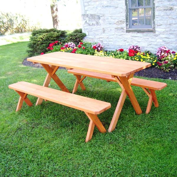 A & L Furniture Pressure Treated Pine Crossleg Table with 2 Benches Picnic Benches 4ft / Redwood / No