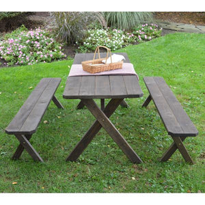 A & L Furniture Pressure Treated Pine Crossleg Table with 2 Benches Picnic Benches 4ft / Unfinished / No