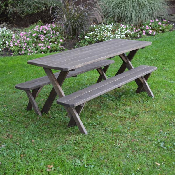 A & L Furniture Pressure Treated Pine Crossleg Table with 2 Benches Picnic Benches 4ft / Walnut / No